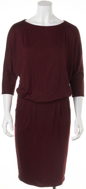 TRINA TURK Burgundy Wine Red Casual Blouson Pocket Knee-Length Dress