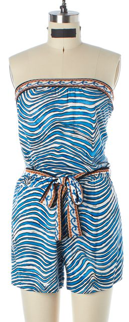 TRINA TURK Blue White Orange Animal Print Strapless Romper