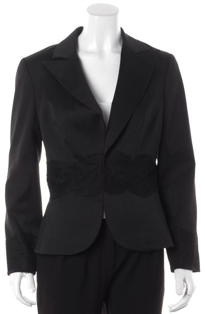 TRINA TURK Black Lace Trim Detail Blazer