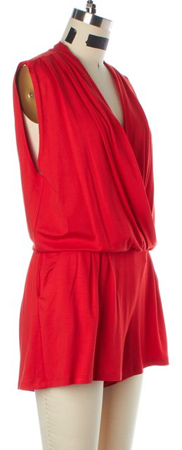 TRINA TURK Red Jersey Sleeveless Faux Wrap Romper w Pockets
