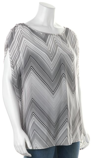 TRINA TURK White Black Geometric Printed Silk Wide Neck Blouse Top