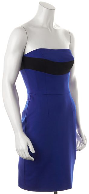 TRINA TURK Royal Blue Black Strapless Above Knee Sheath Dress