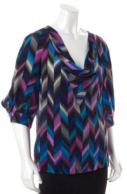 TRINA TURK Purple Blue Gray Abstract Silk Cowl Neck Blouse