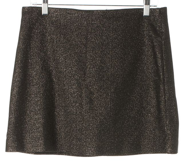 TRINA TURK Metallic Gray Stretch Cotton Above Knee A-Line Skirt