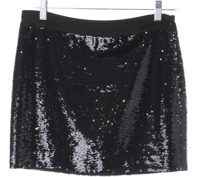 TRINA TURK Purple Black Sequin Above Knee Straight Skirt