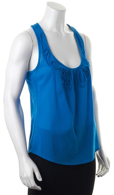 TRINA TURK Blue Floral Embroidered Sleeveless Racerback Blouse Top