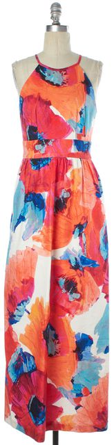 TRINA TURK Pink Orange Blue Floral Printed Sleeveless Summer Maxi Dress