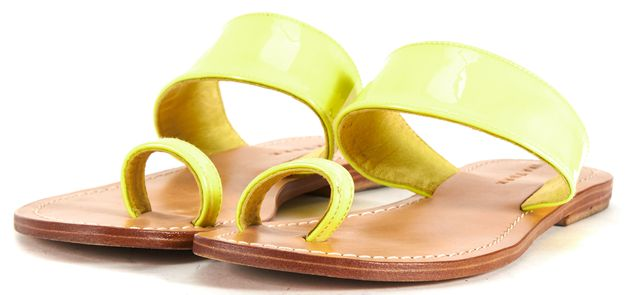 TRINA TURK Neon Yellow Patent Leather Flat Slip On Sandals