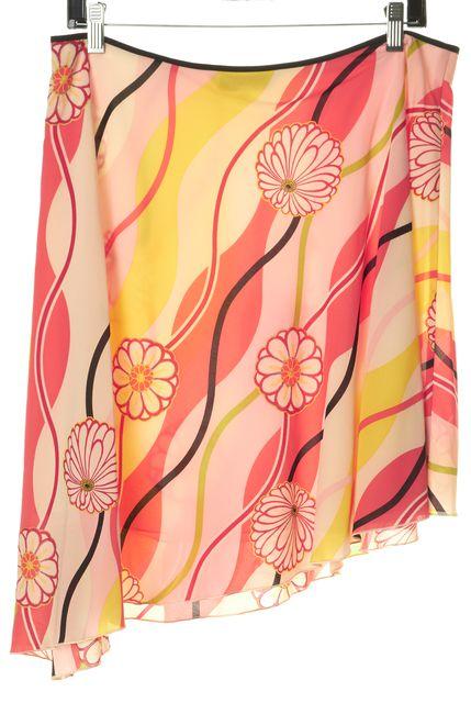 TRINA TURK Ivory Silk Floral Asymmetrical Skirt
