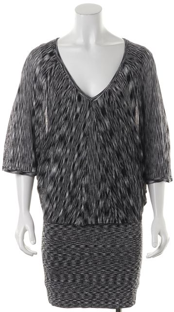 TRINA TURK Gray Blue Batwing V-Neck Marled Knit Blouson Dress