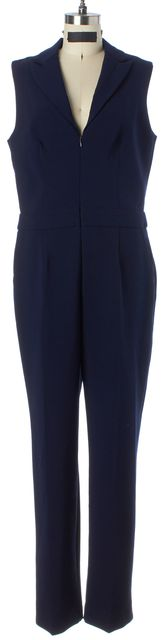 TRINA TURK Navy Blue Sleeveless Front Zipped Jumpsuit/ Romper