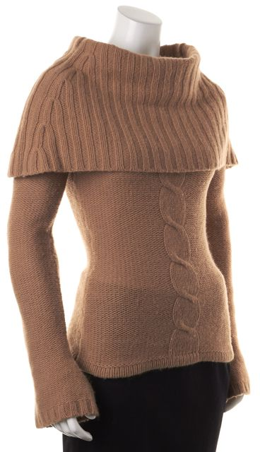 TRINA TURK Brown Wool Chunky Knit Off Shoulder Cowl Neck Sweater
