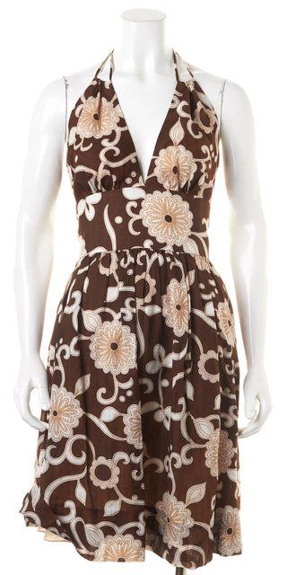 TRINA TURK Brown White Floral Halter Empire Waist Dress