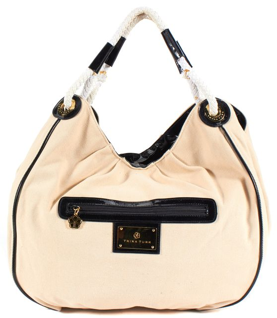 TRINA TURK Beige Canvas Large Hobo Shoulder Bag