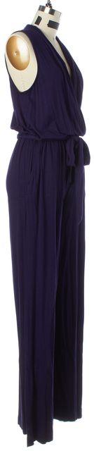 TRINA TURK Purple Waist Tied Sleeveless Cotton Jumpsuit/ Romper