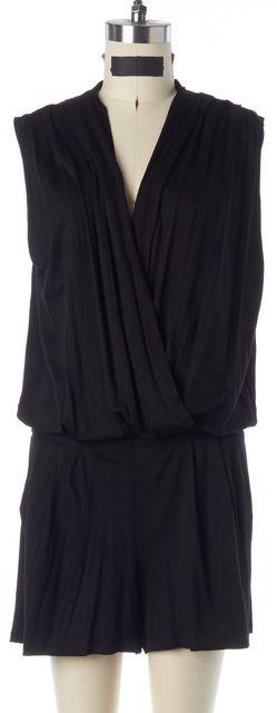 TRINA TURK Black Jersey Sleeveless Pleated Faux Wrap Romper w Pockets