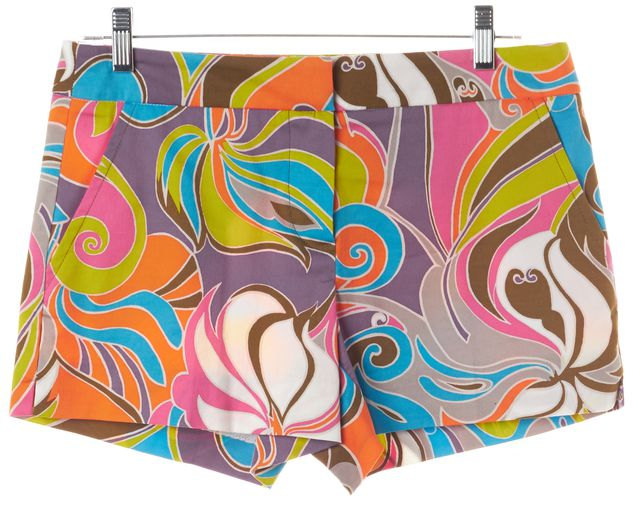TRINA TURK Multi-color Abstract Cotton Blend Casual Shorts