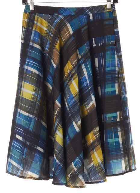 TRINA TURK Blue Black Multi Plaid Flounce Skirt