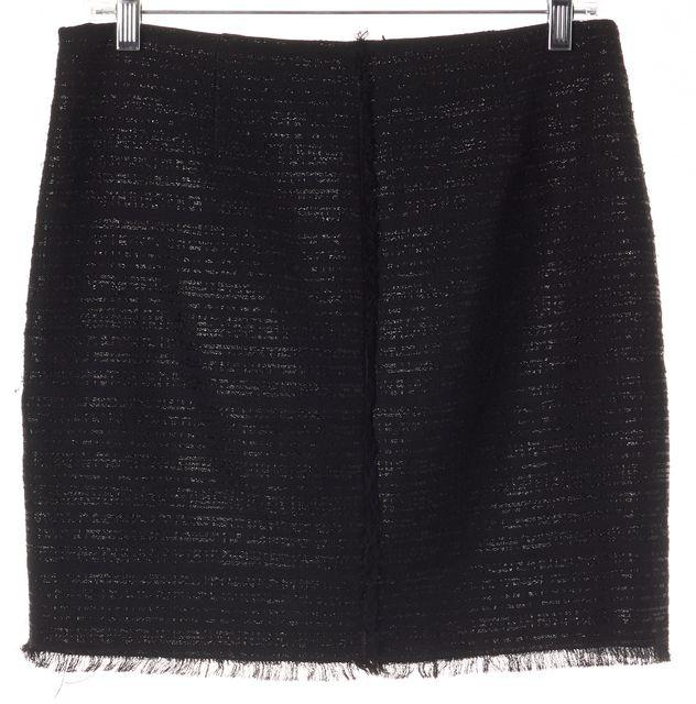 TRINA TURK Metallic Black Fringe Trim Above Knee Straight Skirt