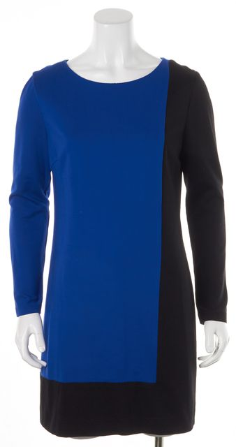 TRINA TURK Blue Black Color Block Long Sleeve Shift Dress