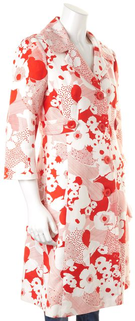 TRINA TURK Red White Floral Printed Cotton Linen Button Up Long Jacket