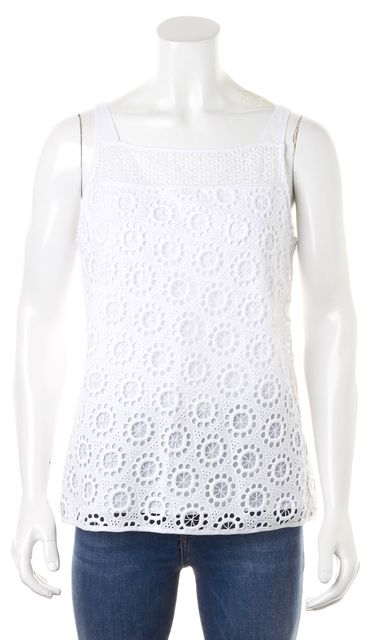 TRINA TURK White Cotton Crochet Floral Top