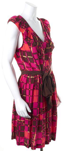 TRINA TURK Pink Brown Abstract Printed Waist Tie V-Neck Blouson Dress