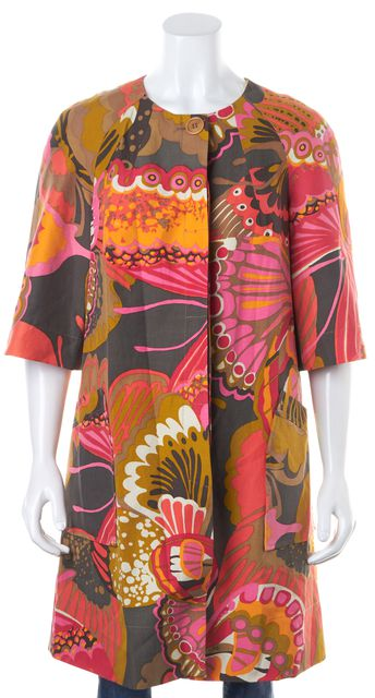 TRINA TURK Multi-Color Floral Abstract Silk Linen Half Sleeve Dress Coat