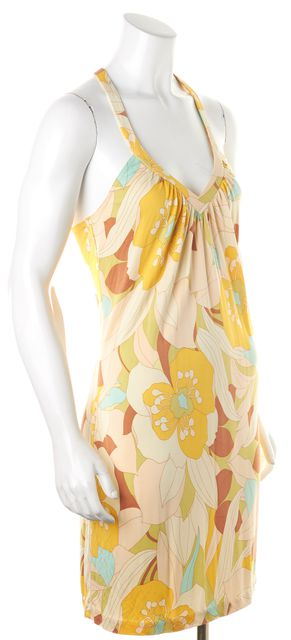 TRINA TURK Yellow Multi Floral Printed Silk Jersey T-Back Sundress
