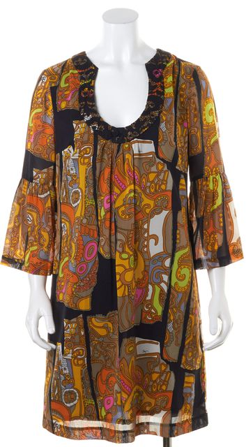 TRINA TURK Brown Black Yellow Orange Psychedelic Open Neck Sundress