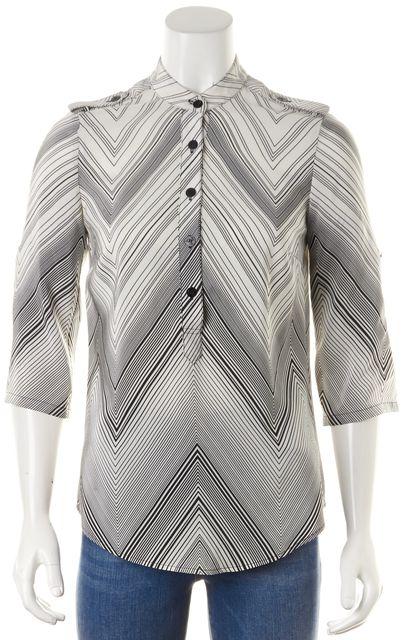 TRINA TURK White Black Chevron Print Silk 3/4 Sleeve Button Up Blouse