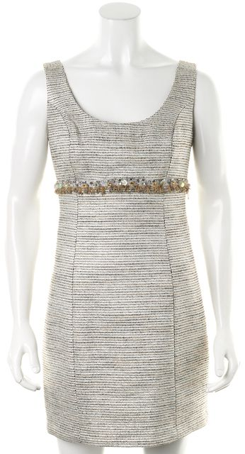 TRINA TURK Gray Brown Metallic Striped Embellished Waist Sheath Dress