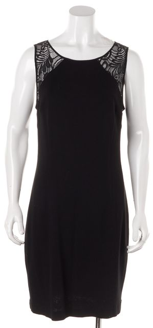 TRINA TURK Black Lace Trim Sleeveless Sheath Dress