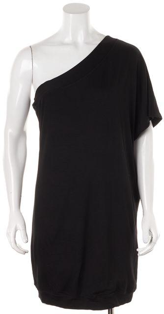 TRINA TURK Black Above Knee One Shoulder Shift Dress