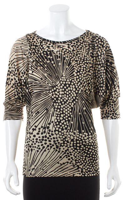 TRINA TURK Black Beige Abstract Printed Jersey Dolman Sleeves Blouse Top