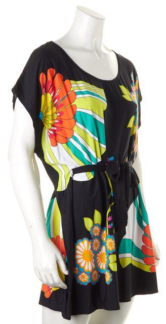 TRINA TURK Black Orange Green Floral Cap Sleeve Blouson Dress