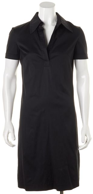 TRINA TURK Black Short Sleeve Above Knee Shirt Dress