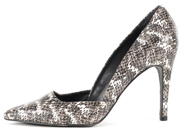 TRINA TURK Black White Snake Embossed Leather Hollywood d'Orsay Heels