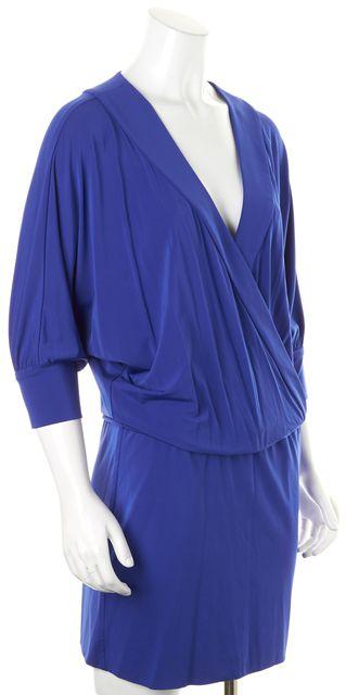 TRINA TURK Blue V-Neck Wrap Effect Above Knee Blouson Dress