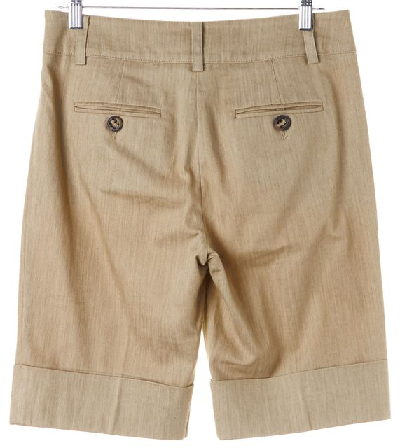 TRINA TURK Beige Stretch Cotton Cuffed Bermuda Shorts