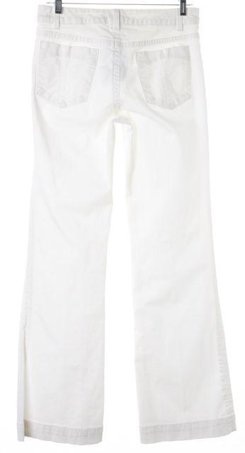 TRINA TURK White Stretch Cotton Mid-Rise Straight Leg Jeans