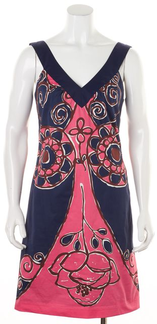 TRINA TURK Blue Pink Abstract Sleeveless Cotton Shift Dress