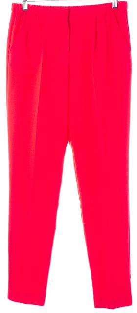 TRINA TURK Ultra Neon Pink Slim Leg Trousers Pants