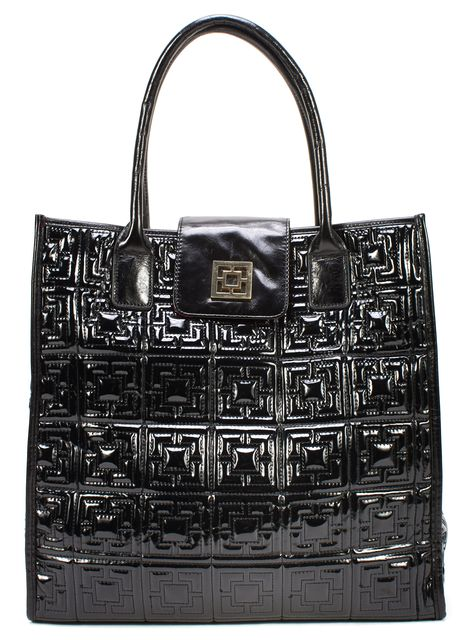 TRINA TURK Black Quilted Vinyl Leather Trim Shopping Tote Bag