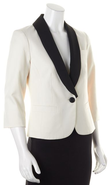 TRINA TURK Ivory Black Blazer Jacket
