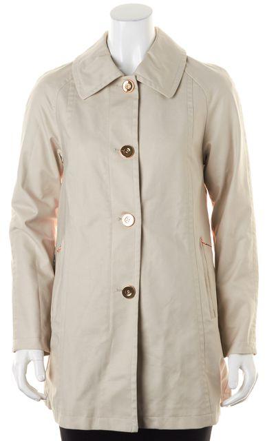 TRINA TURK Beige Khaki Cotton Gold-Tone Button Down Trench Coat Jacket