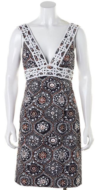 TRINA TURK Black Brown White Floral Sleeveless Empire Waist Dress