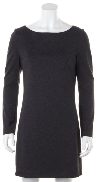 TRINA TURK Charcoal Gray Long Sleeve Above Knee Sheath Dress