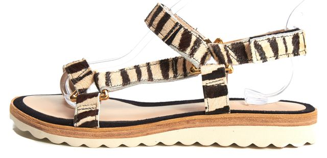 TRINA TURK Beige Animal Print Calf-Hair Catalina Flat Sandals