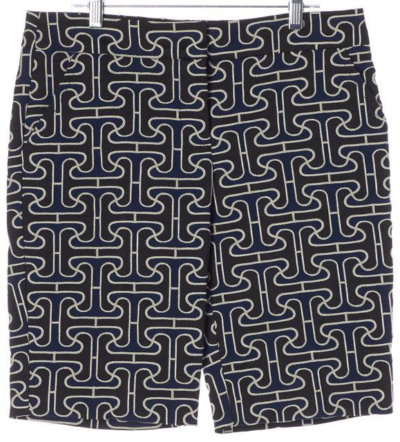 TRINA TURK Navy Blue Black Abstract Dress Shorts